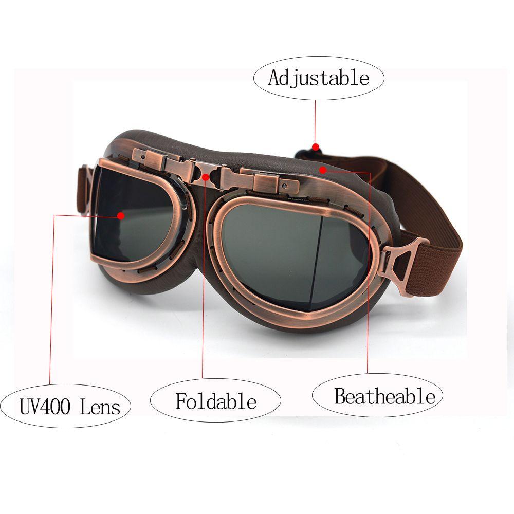 7dd1f036171df Compre Óculos De Proteção Da Motocicleta Motocross Capacete Óculos  Steampunk Segunda Guerra Mundial Retro Aviador ATV Cruiser Off Road Eyewear  Googles ...