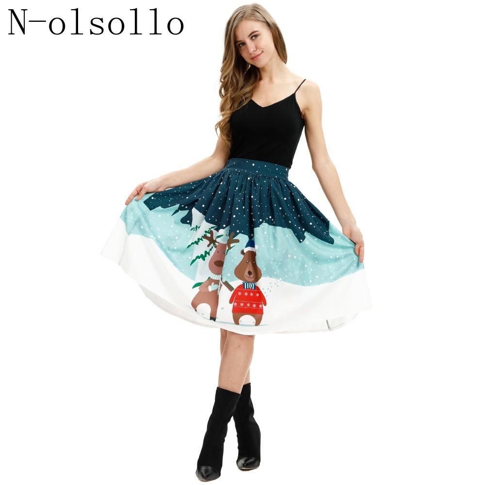 N-olsollo New Fashion 3D Natale cervi stampati gonne delle donne 2018 vestiti di Natale a vita alta pieghettato Midi Saias Tutu Gonne