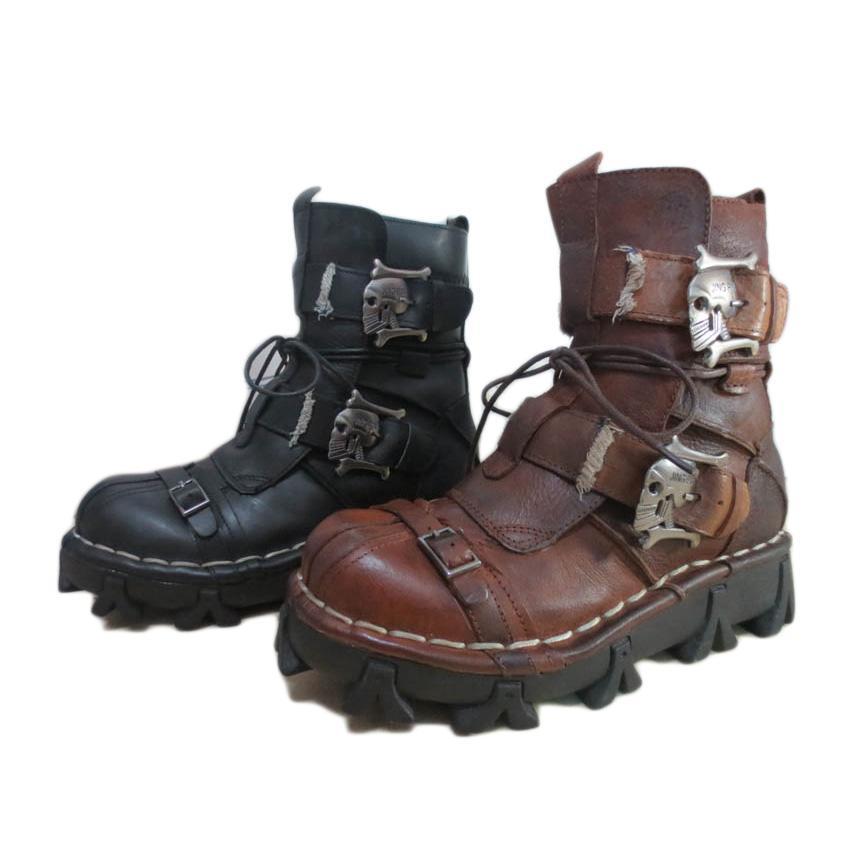 Nuovi stivali alla caviglia in vera pelle 2018 2018 Scarpe da uomo di alta qualità Fibbia in metallo Punk Stivali da moto maschili Stringate Scarpe da uomo di grandi dimensioni Rock