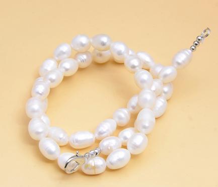 7-8 мм Южное море натуральный белый рис форма жемчужное ожерелье 17 дюймов 925 серебряная застежка XL-873