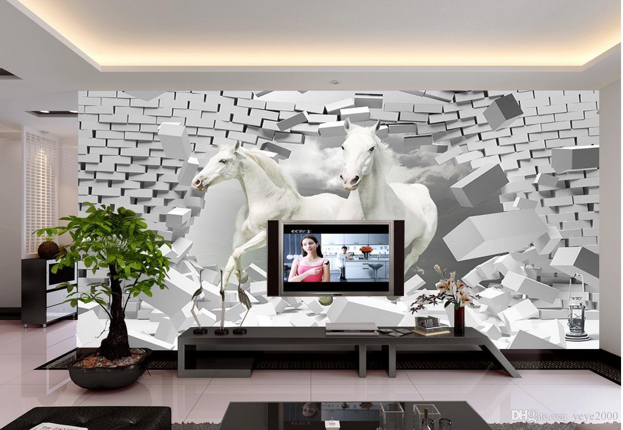 Papier Peint Pour Chambre acheter papier peint pour chambre denfants cheval 3d espace créatif  décoration tv fond mur 3d papier peint salon de 36,46 € du yeye2000 |  dhgate