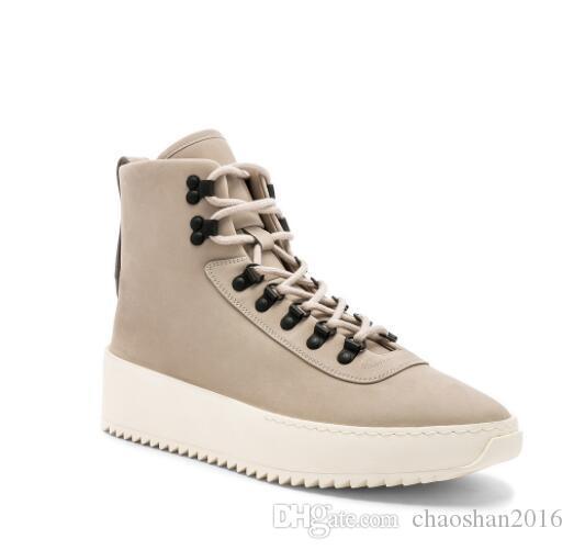 2018 nouvelle Meilleure Qualité Ivoire Peur de Dieu Top Militaire Sneakers Hight Army Bottes Hommes et Femmes Mode Chaussures Martin Bottes 39-46