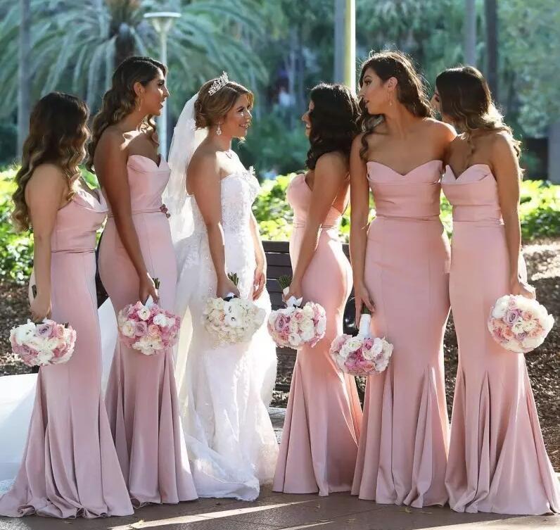 Free Shipping Mermaid Bridesmaid Dresses Sweetheart Satin Floor Length Long Bridesmaid Gowns 2019 Elegant African Party Dresses