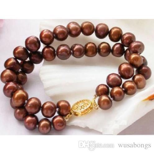 2 hileras encantadoras 9-10mm brazalete de perlas de chocolate del mar del sur 7.5-8 pulgadas 14k / 20 @