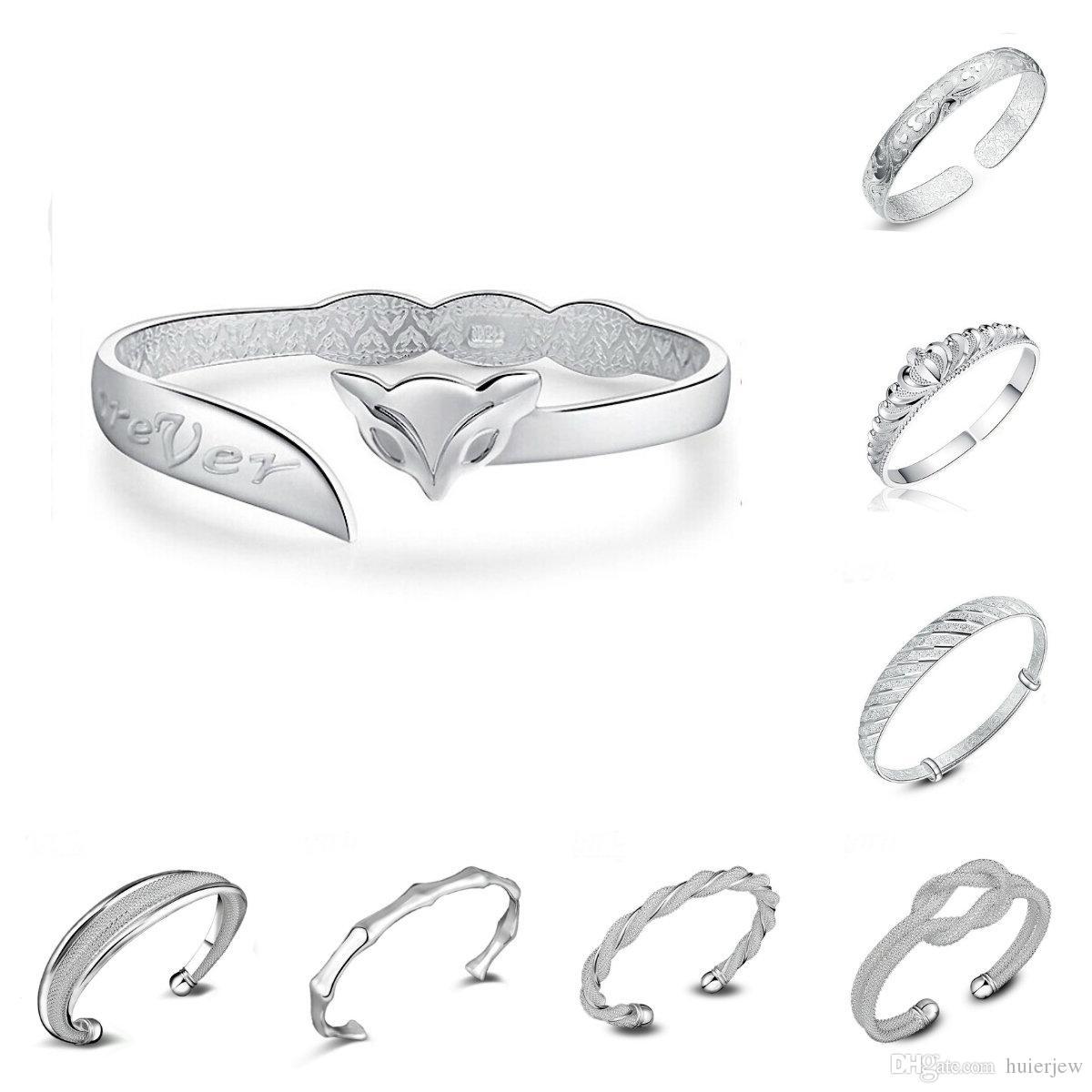Braccialetti dell'argento sterlina 925 per gli uomini Donne Gioielli della mano aperta Braccialetto di modo della Boemia Braccialetti regolabili del polsino di stile cinese Braccialetti