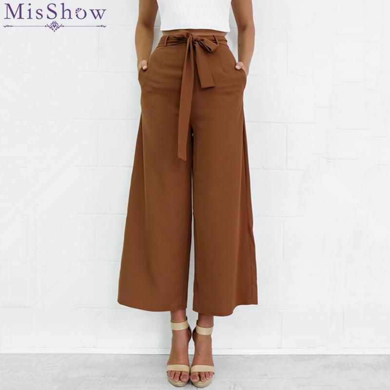 2017 Moda Kadınlar Elastik Yüksek Bel Geniş Bacak Pantolon Rahat Gevşek Palazzo Pantolon Siyah Bayanlar Pantolon S-XL Pantalon Femme