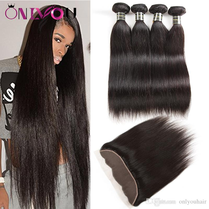 Wholesale OnlyouHair Malaysian Virgin Hair Straight Human Hair Bundles with Closure Human Hair Weave Ponytail Straight Lace Frontal Bundles