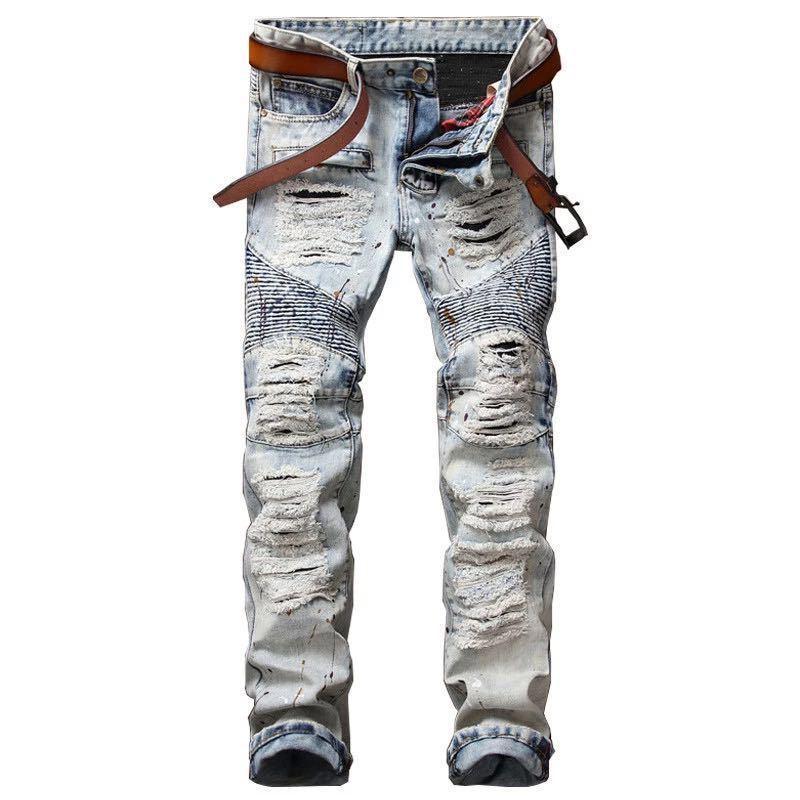 Das Loch der Männer zerrissene Radfahrer-Jeans für Motorrad-Loch-hellblaue dünne passende gerade Denim-Jeans keucht lange Hosen für das Dropshipping