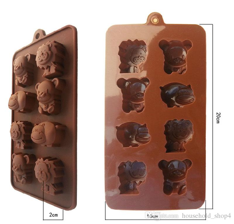 Cute Cartoon silicone chocolate cake bakeware DIY handmade soap Ice cube tray mold mould with Lion bear hippo 8 animals
