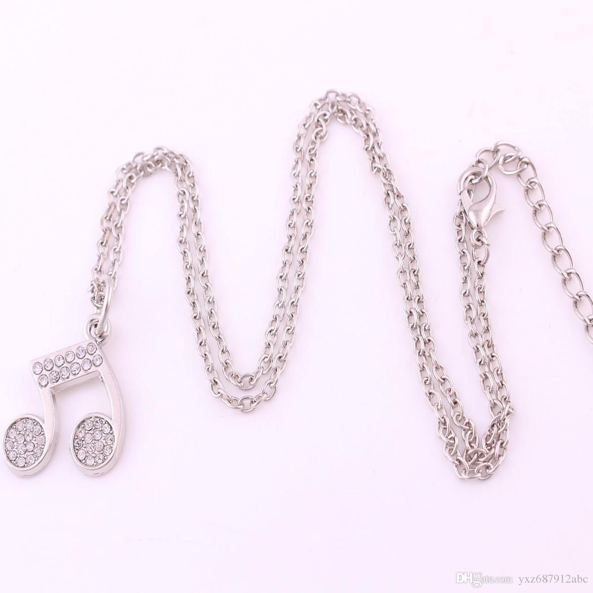 Crystal Music Uwaga Urok Wiszący Jewellery Srebrny Notacja Choker Link Łańcuch Naszyjnik Darmowa Wysyłka