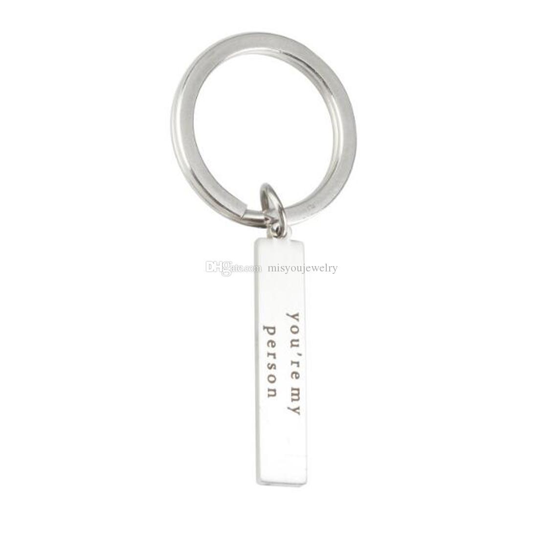 Fashion jewelry accessories fine You're My Person Stainless Steel Rectangle Keychain Keyring Best Friend Boyfriend Girlfriend