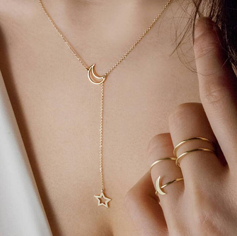 Verkauf Dubai neue Art und Weise Frauen Schmuck einfaches Mond-Stern-Halsketten-Gold-Anhänger-Halskette Hochzeit Schmuck Zubehör