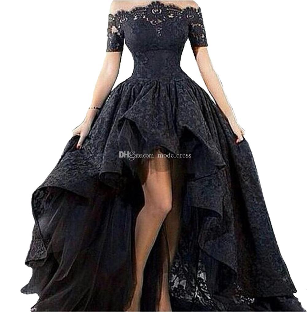 High Low Full Lace Evening Dresses 2019 Off Shoulder Appliques Short Sleeve Hi-Lo Black Arabic Prom Party Gowns Vestido Plus Size Customized