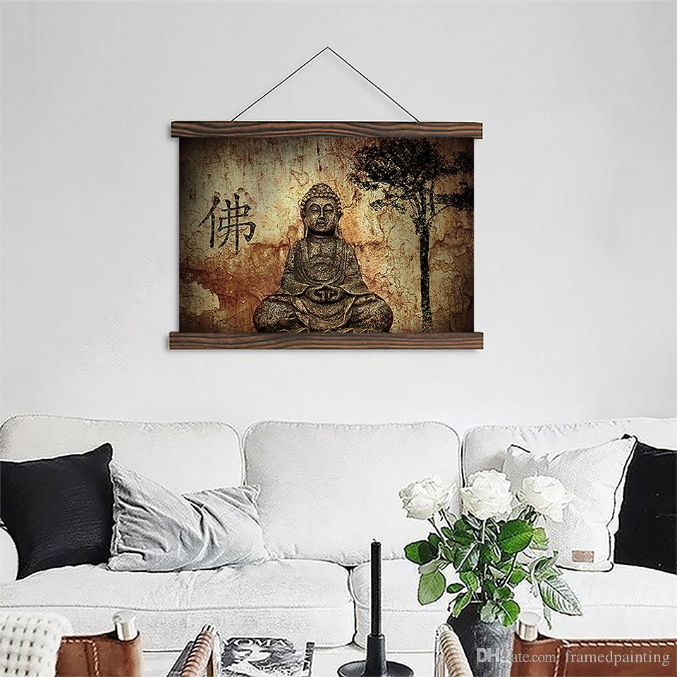 Acheter Moderne Toile Affiche Vintage Zen Bouddha Peintures Pour Le Salon Décor Mur Art Hd Prints Défilement Photos Suspendus En Bois Encadré De
