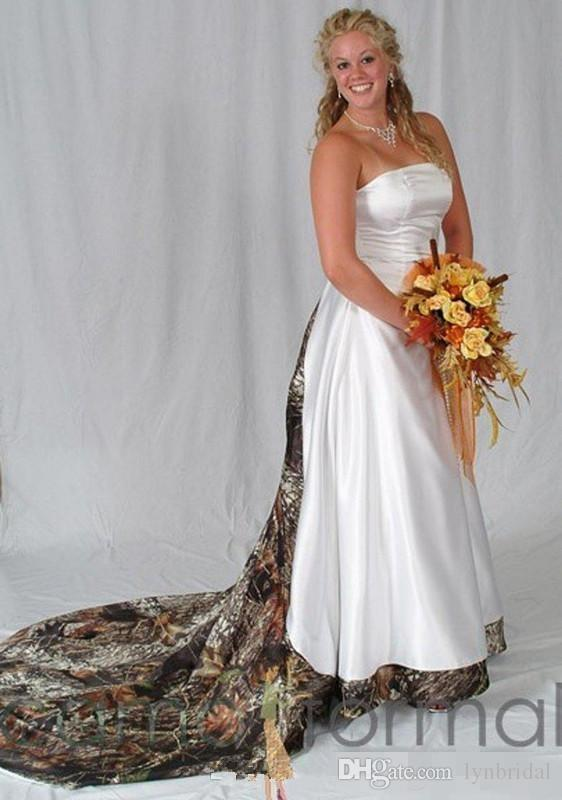 Vintage Plus Size Camo real tree country Wedding Dresses Strapless ...