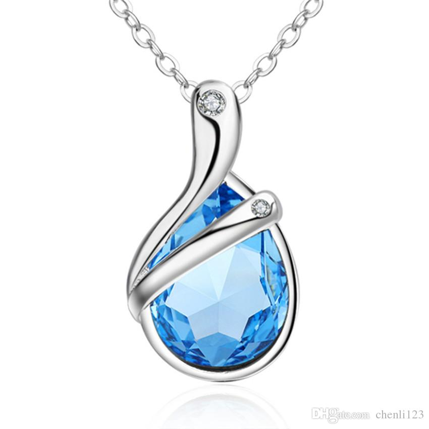 Fashion Jewelry Necklace Pendant White Gold Plated Blue Dropwater CZ Crystal Charm Chain For Graduation Vacation Gift