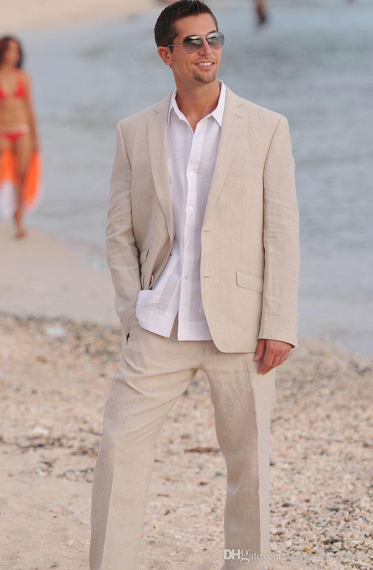 Ivory Linen Men Suits Custom Made Tailored Tuxedo Slim Fit Blazer Fashion Casual 2 Pieces Blazer Prom Terno Masculino (Jacket+Pants)