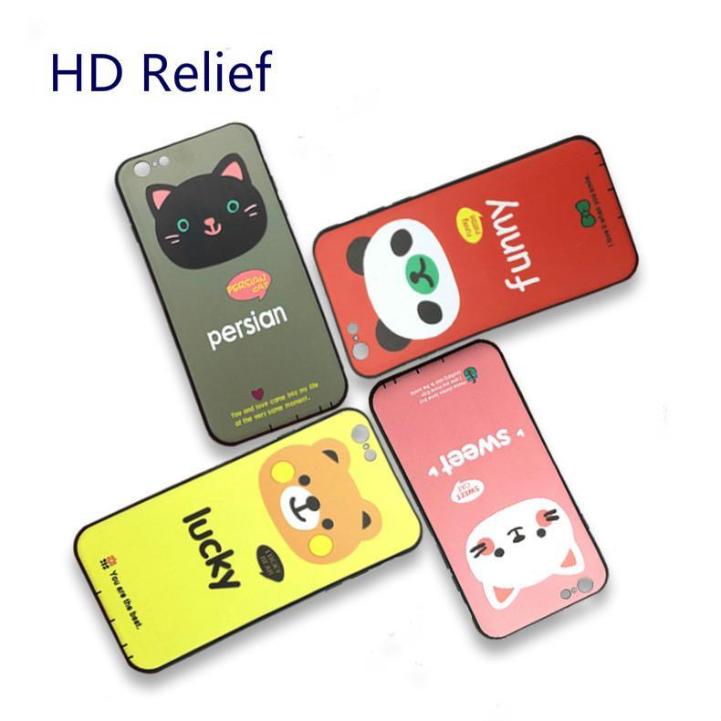 Telefon kılıfı için iphone 6 Kore yüksek çözünürlüklü kabartma yaratıcı karikatür Harfler ve hayvanlar TPU Koruyucu cep telefonu kabuk ZPG410