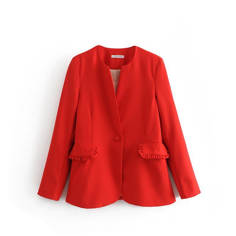 Women's Jackets XSXZ70-27196 Europe And America Fashion Style Pocket Stacking Decorative Casual Suit Jacket