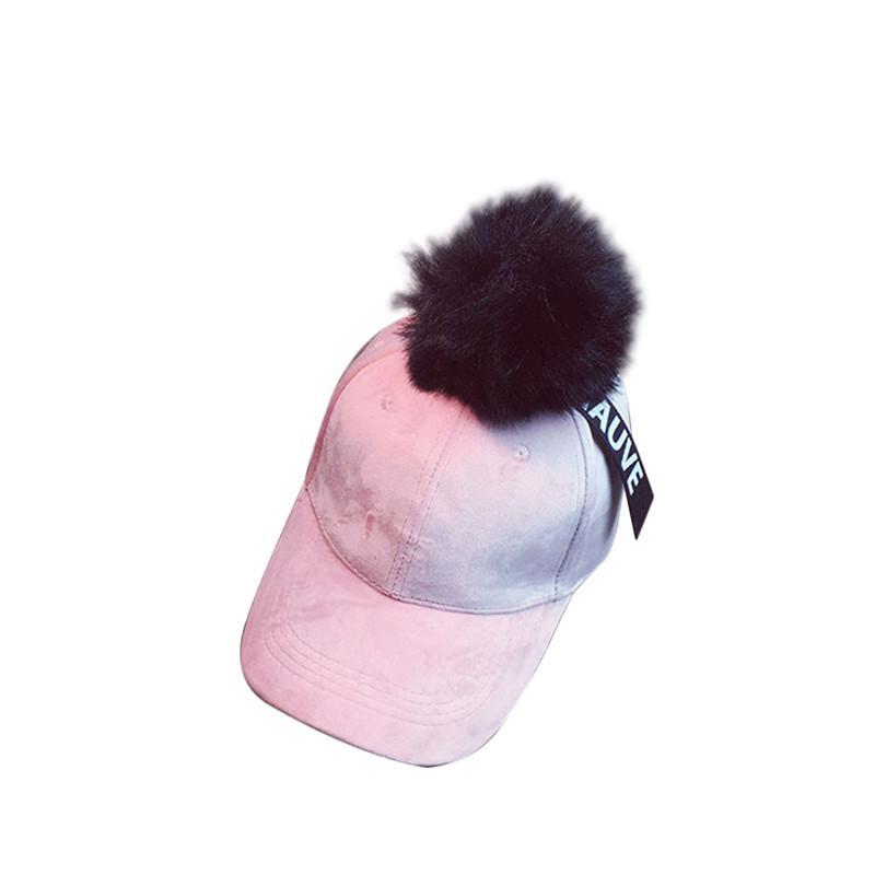 LADIES GIRLS MENS FAUX BASEBALL CAP WITH DETACHABLE FUR POMPOM