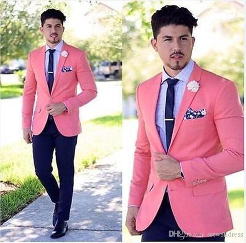 Cheap Fashion Pink Custom Made Groom Tuxedos Slim Fit Notch Lapel Best Man Suit Wedding Men's Party Suits (Jacket+Pants)