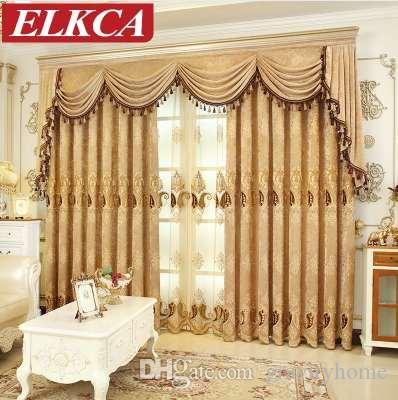Cortinas de chenilla bordadas europeas para la sala de estar Cortinas de tul de lujo para el dormitorio Cortinas de ventana cortinas de tratamiento chino