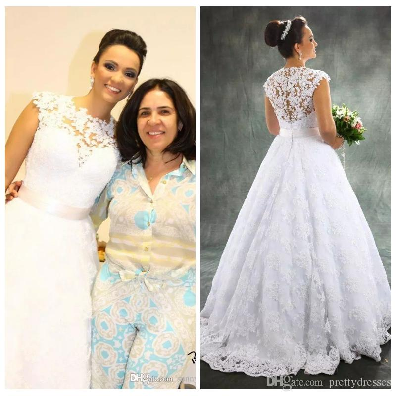 Apliques de encaje con cuello en O Vestidos de novia de una línea Vestidos de novia vintage 2019 Vestidos de novia largos modestos personalizados Sin mangas personalizados