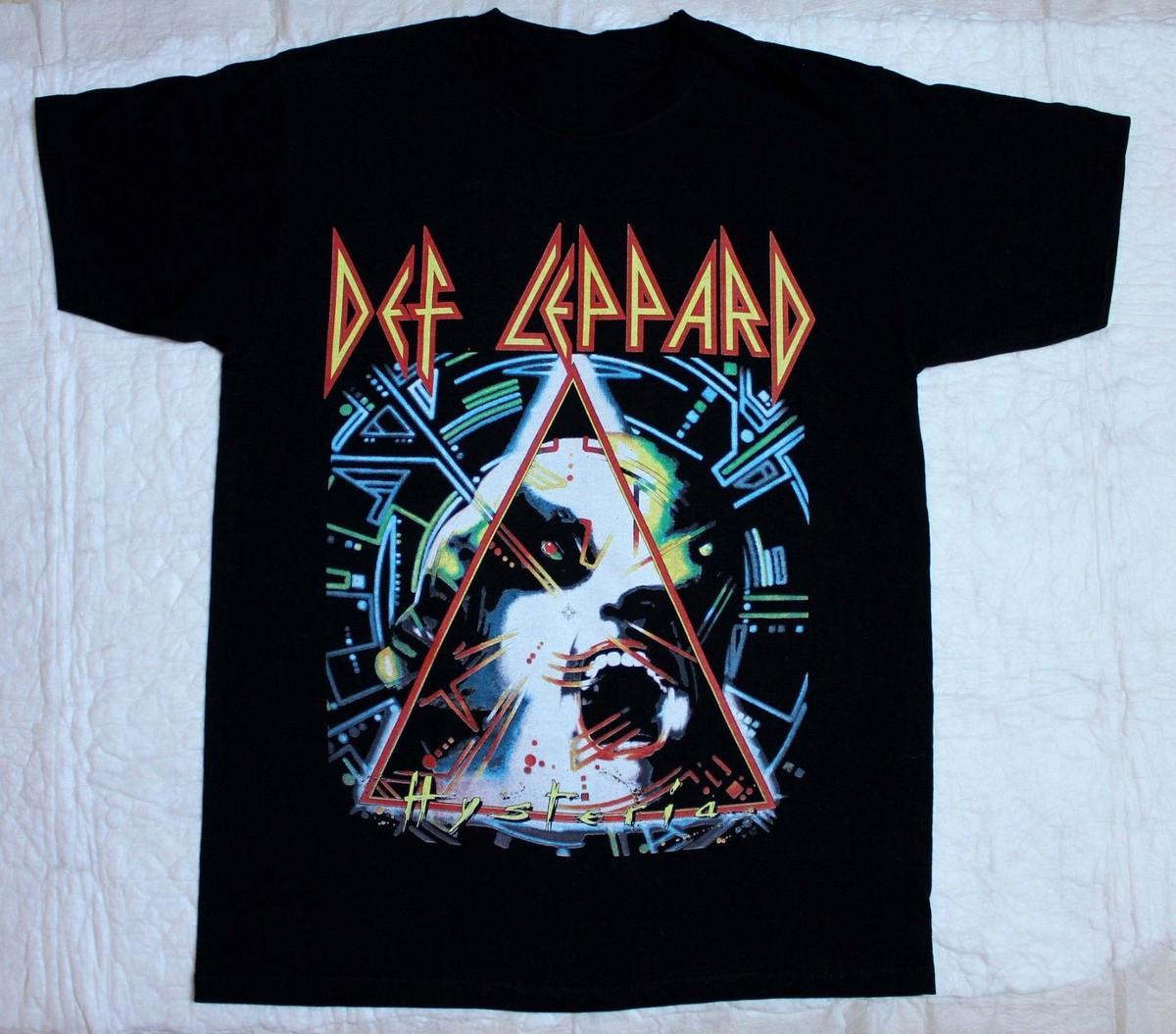 Def Leppard - Hysteria Tour 88 Black T-shirt O-Fashion عارضة عالية الجودة طباعة تي شيرت الرجال تي شيرت الجدة س الرقبة بلايز