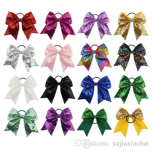 8 INCH Fashion Handmade Sequin Bling Cheer Bows Hairbands for Girl Children Kids Boutique Sequin Hair Accessorie