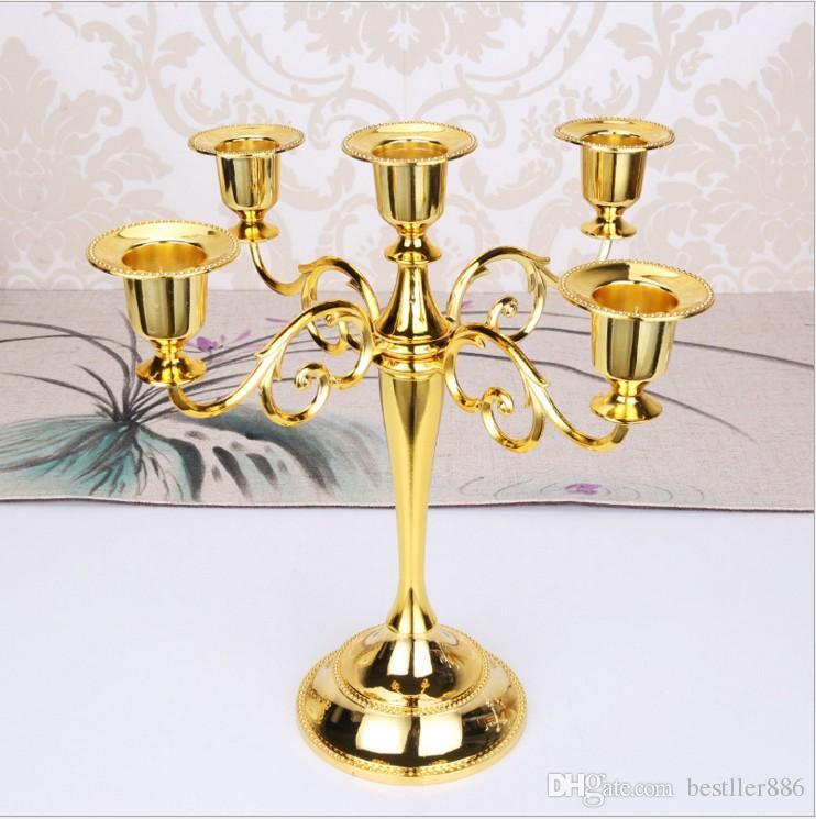 Sostenedores calientes calientes de la vela del metal 5 brazos / 3 brazos Soporte de la vela Decoración de la boda Candelabro Pieza central Candlestick Silver / Gold
