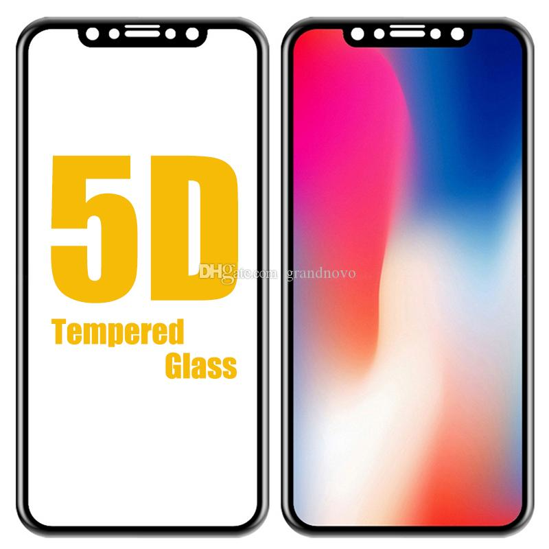 Protetor de Tela 5D curvo vidro temperado completa Guarda Film 9H Para iPhone 11 Pro Max XS XR X 8 Plus 7 6 Samsung Galaxy J3 J5 J7 Pro A6 A8