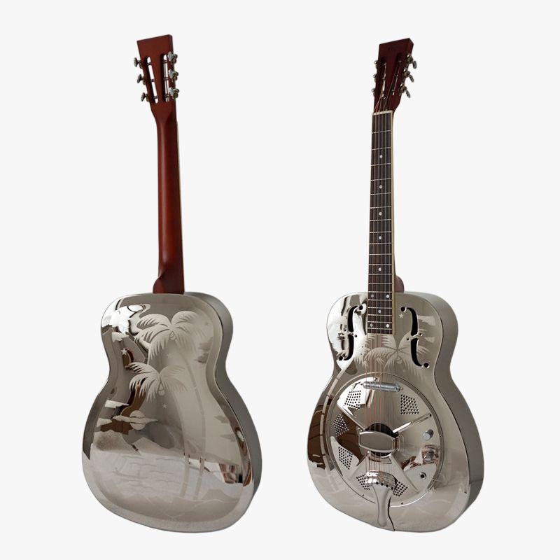 Aiersi Hawaii Palm Tree Pattern O Style Brass Body Style Electric Resonator Guitar con custodia e cinturino
