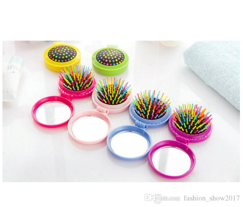Airbag Massage Folding Comb With Mirror Hair Brushes For Girls Travel Accessory Portable Folding Mini Round Massage Comb