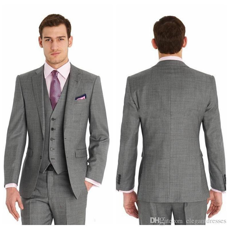 Vintage Tanie Slim Fit Dwa Przyciski Formalne Najlepsze Man Wedding Garnitury Groom Tuxedos Gray Classic Wedding Tuxedos (Kurtka + spodnie + krawat + kamizelka)