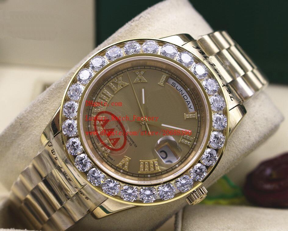 Day-Date de Luxe 2 Sapphire II 41MM Président or jaune 18 carats Cadran Bigger Bigger diamant mécanique automatique Montre Homme Montres