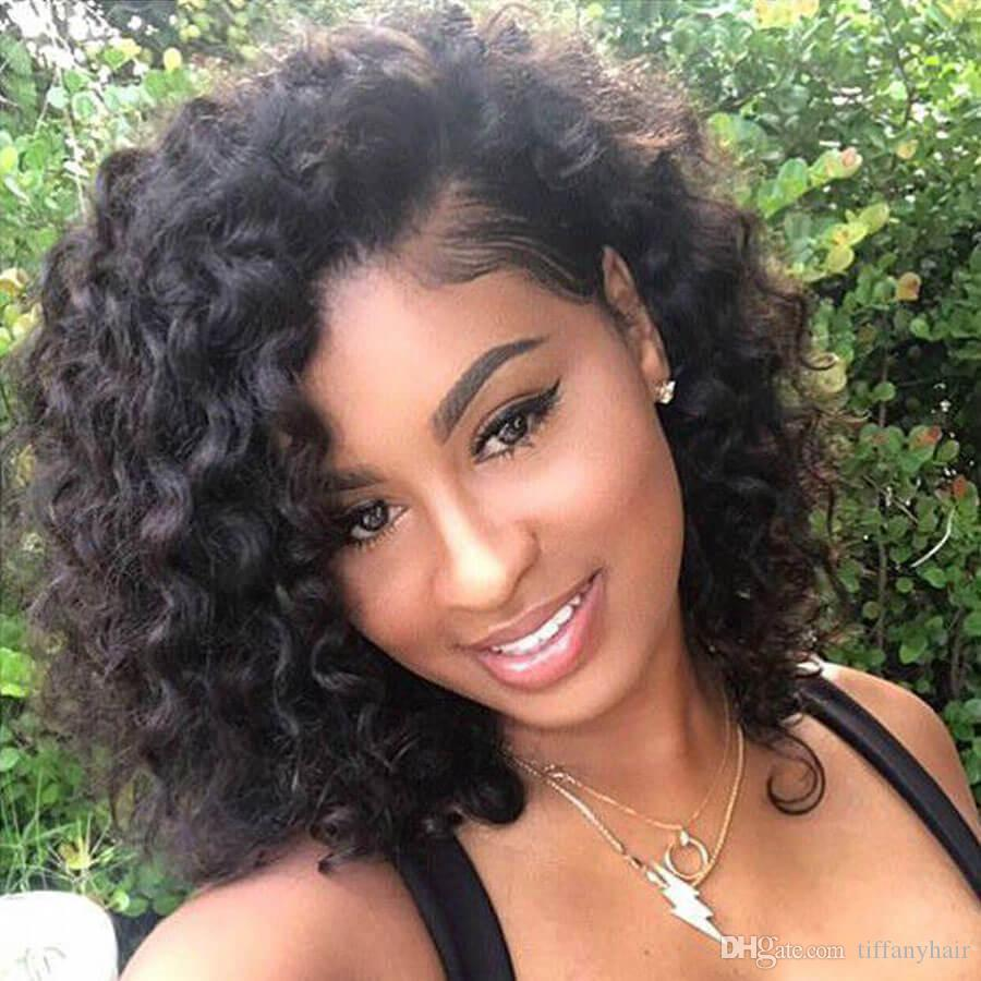 Lace Front Wigs Short Curly Brazilian Full