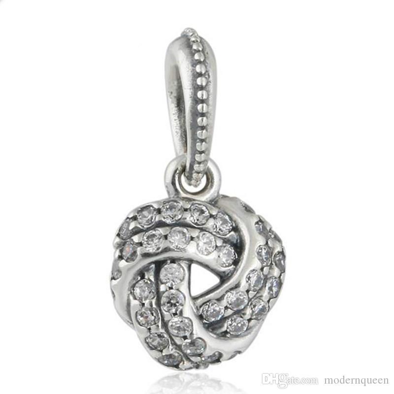 5 unids / lote Love Knot Colgantes 925 Sterling Silver se adapta a pulseras de estilo DIY 390385cz H9
