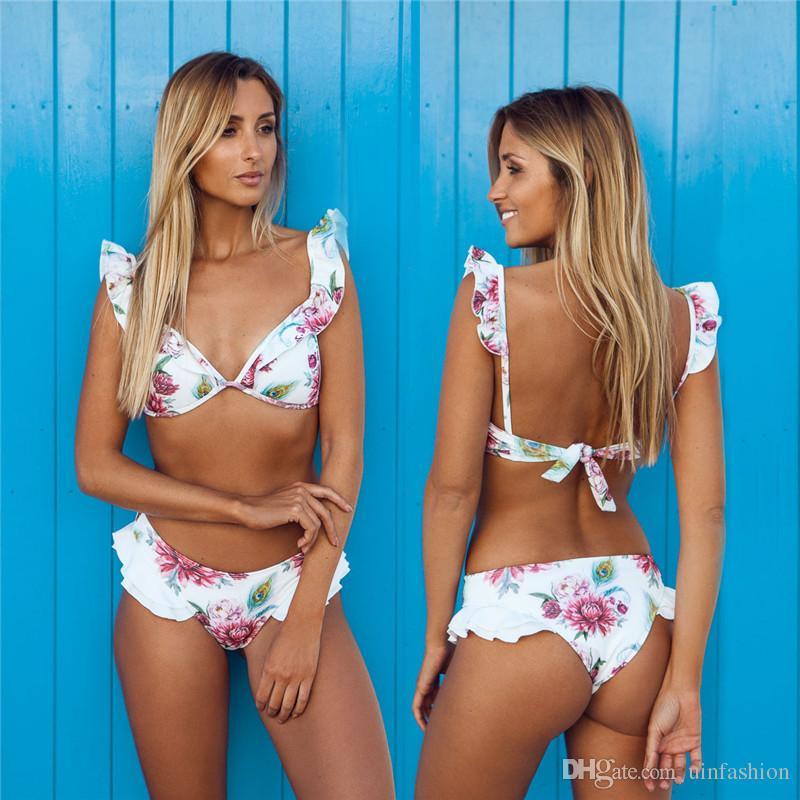Bikini Brasilianische Frauen Badeanzug Rüschen Schulter Bikini Set Pad Weste Bikini Low Waist Bandage Bademode Blumendruck