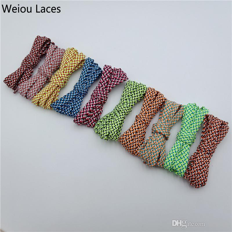 Weiou Three Colours Flat Polyester Athlete Shoestrings Multi Colored Striped Bootlace For Casual Sneaker Shoes in 120cm