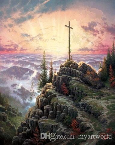 Framed SUNRISE The Cross,Thomas Kinkade Oil Painting On Canvas,HD Print Wall Art, Various sizes,Pr083!