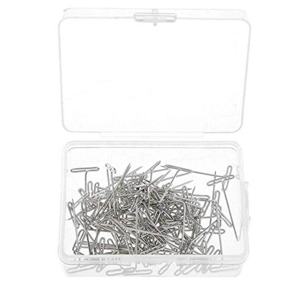 100pcs Versatile Nickel Plated Steel Wig T-Pins with Plastic Storage Box for Hand Repair Upholstery Carpet Leather Canvas T pins
