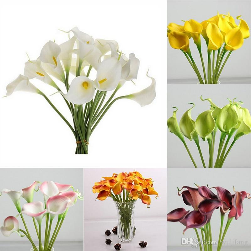 Comercio al por mayor 1 Unids Multicolor Artificial PU Fake Calla Flor Boda Bouquet Inicio Flor Decoración