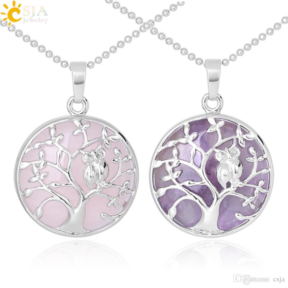 CSJA Silver Color Tree of Life Pendant Necklace Natural Stone Tiger Eye Amethyst Crystal Quartz Birds Owl Collier Women Charm Jewelry F343 A