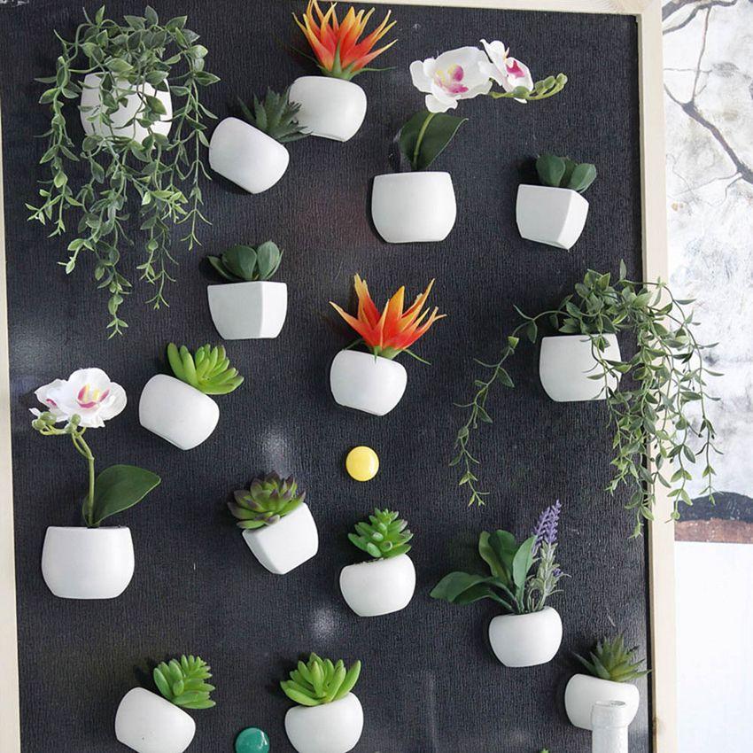 Simüle Buket Çiçek Buzdolabı Sticker Etli Bitki Dolabı Magnet Manyetik Saksı Bitki Ev Duvar Dekorasyon OOA5858