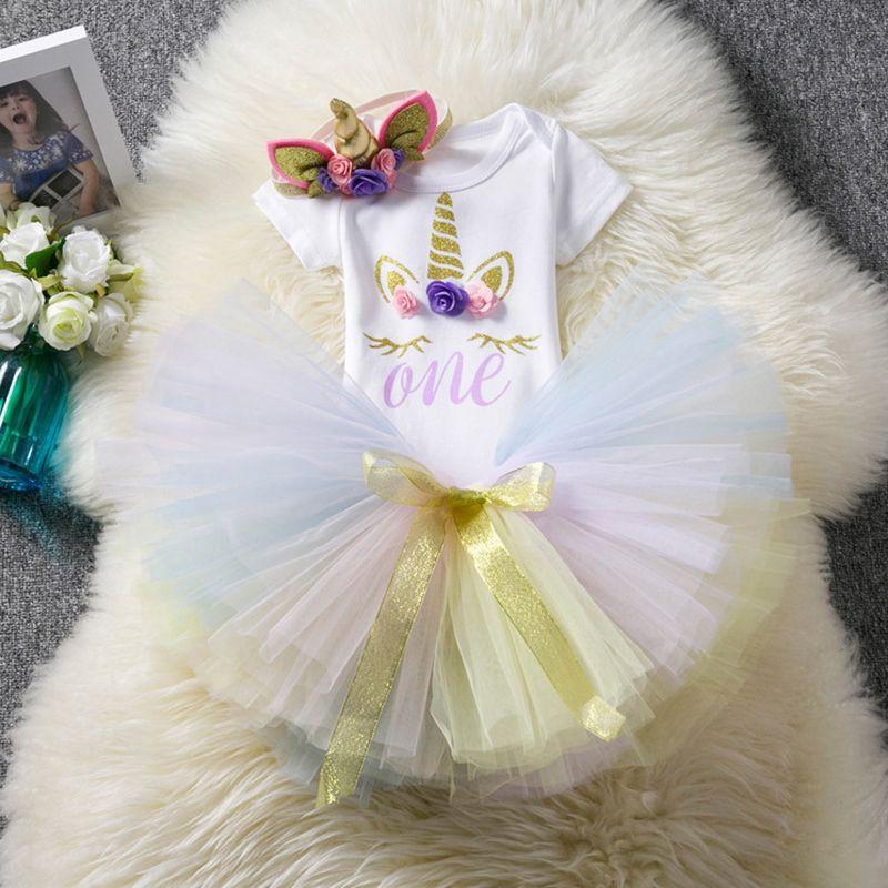 Bebek Takım Elbise 1 Yıl Doğum Elbise Vaftiz Örtü Unicorn TUTU Etek Kıyafetler 12 Ay Bebek Giyim Unicorn Kafa