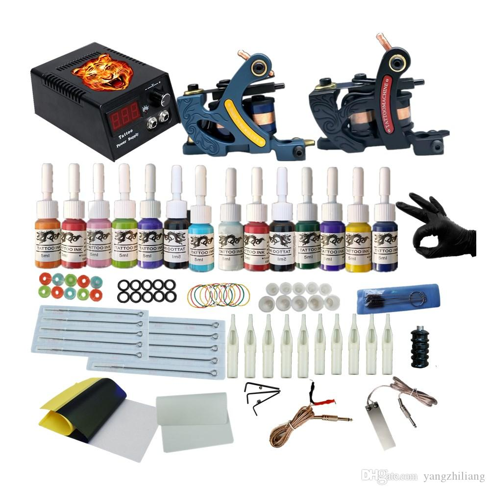 Professional Complete Tattoo Kits 2 Coil Guns Machine Set Tattoo Ink Supplies Power Supply Tattoo Kits Discount Tattoo Supplies Eikon Tattoo Supply