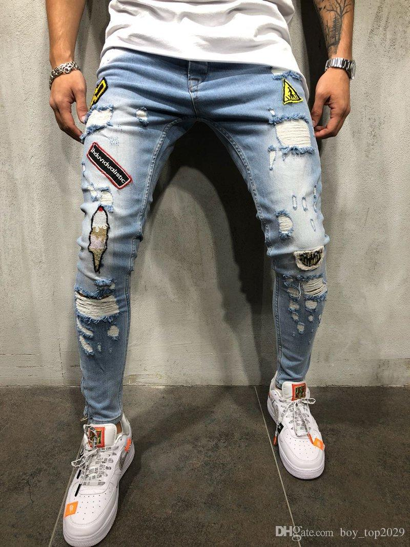 HOT!NEW Men's Ripped Jeans Top Quality Slim Fit Blue Color Destroyed Ripped Patches Jeans For Men Coat Brand Designer Biker Jeans