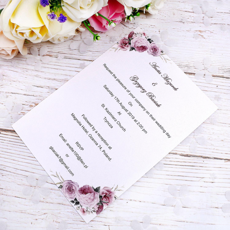 Personal Design Dostosuj Dostosuj dowolny styl wewnętrzny arkusz dla kart ślubnych (