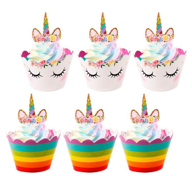 24 adet Unicorn Kek Toppers Sarmalayıcılar Çocuklar Unicorn Parti Dekorasyon Gökkuşağı Doğum Günü Bebek Duş Kek Topper Şekeri