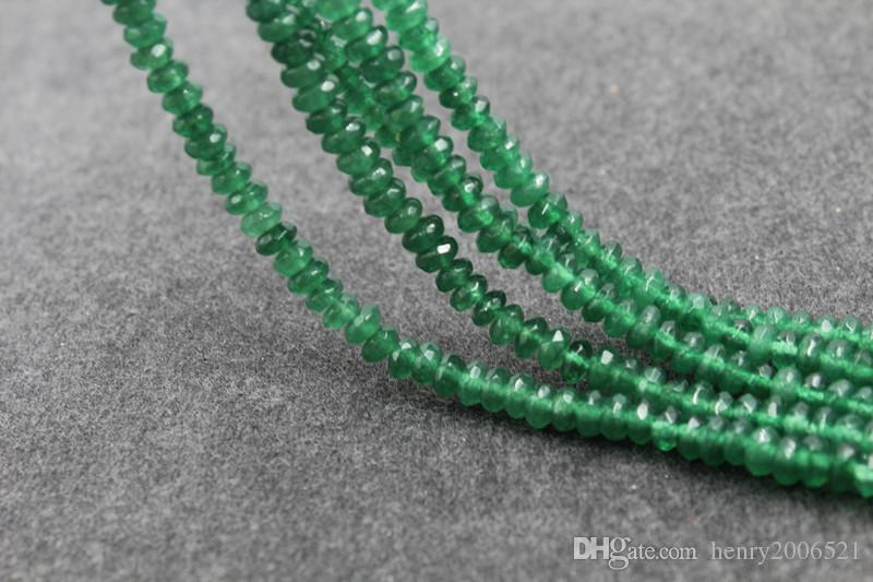 5 strands Natural 2x4mm India natural emerald sharp crystal faceted beads scattered black spinel abacus beads semi-finished products